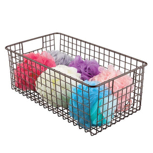 Storage organizer mdesign farmhouse decor metal wire bathroom organizer storage bin basket for cabinets shelves countertops bedroom kitchen laundry room closet garage 16 x 9 x 6 in 4 pack bronze