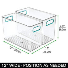 Load image into Gallery viewer, Purchase mdesign plastic home storage organizer bin for cube furniture shelving in office entryway closet cabinet bedroom laundry room nursery kids toy room 12 x 6 x 7 75 4 pack clear blue
