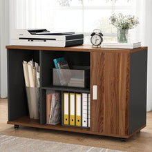Load image into Gallery viewer, Top file cabinet little tree 39 large storage printer stand mobile filing office cabinet with wheels door and open shelves for home office dark walnut