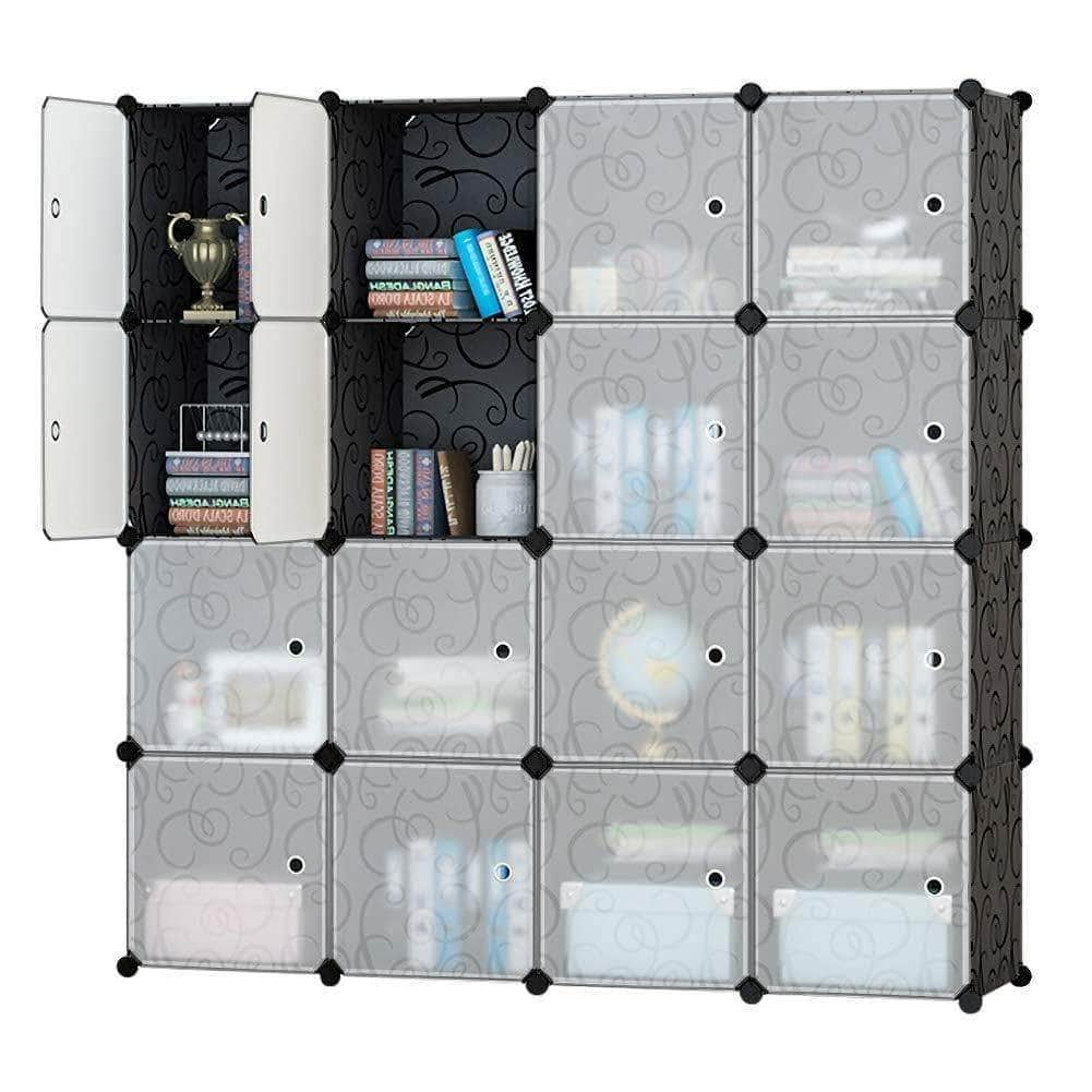 Save on honey home modular plastic storage cube closet organizers portable diy wardrobes cabinet shelving with doors for bedroom office 16 cubes black white