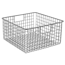 Load image into Gallery viewer, Budget friendly mdesign farmhouse decor metal wire food storage organizer bin basket with handles for kitchen cabinets pantry bathroom laundry room closets garage 12 x 12 x 6 4 pack graphite gray