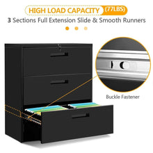 Load image into Gallery viewer, Results 3 drawers white lateral file cabinet with lock lockable heavy duty filing cabinet steel construction blackcurve handle