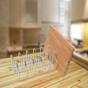 Products cutting board holder rack pot lid organizer for kitchen cabinet countertop large 6 block chrome steel 13 2l x 5 5h x 5 5w
