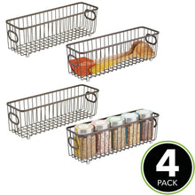 Load image into Gallery viewer, Amazon mdesign metal farmhouse kitchen pantry food storage organizer basket bin wire grid design for cabinets cupboards shelves countertops holds potatoes onions fruit long 4 pack bronze