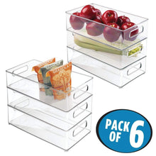 Load image into Gallery viewer, Home mdesign large stackable kitchen storage organizer bin with pull front handle for refrigerators freezers cabinets pantries bpa free food safe deep rectangle tray basket 6 pack clear
