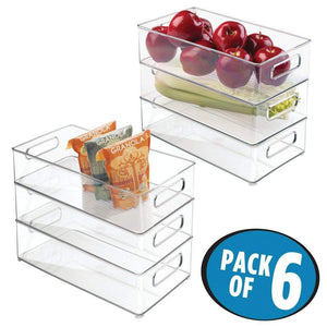 Home mdesign large stackable kitchen storage organizer bin with pull front handle for refrigerators freezers cabinets pantries bpa free food safe deep rectangle tray basket 6 pack clear