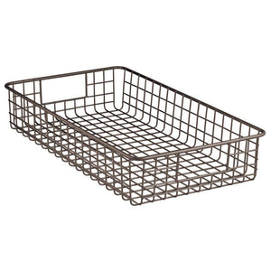 Shop for mdesign household metal wire cabinet organizer storage organizer bins baskets trays for kitchen pantry pantry fridge closets garage laundry bathroom 16 x 9 x 3 4 pack bronze