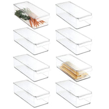 Load image into Gallery viewer, Budget friendly mdesign plastic food storage container bin with lid and handle for kitchen pantry cabinet fridge freezer organizer for snacks produce vegetables pasta 8 pack clear