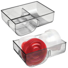 Load image into Gallery viewer, Organize with mdesign food storage container lid holder 3 compartment plastic organizer bin for organization in kitchen cabinets cupboards pantry shelves 2 pack smoke gray