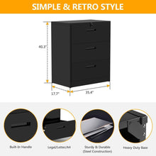 Load image into Gallery viewer, Related 3 drawers white lateral file cabinet with lock lockable heavy duty filing cabinet steel construction blackcurve handle