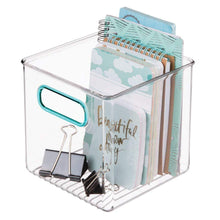 Load image into Gallery viewer, Budget mdesign plastic home office storage organizer container with handles for cabinets drawers desks workspace bpa free for pens pencils highlighters notebooks 6 cube 4 pack clear blue