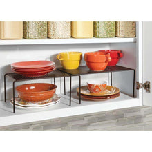 Load image into Gallery viewer, Explore mdesign adjustable metal kitchen cabinet pantry countertop organizer storage shelves expandable 4 piece set durable steel non skid feet bronze