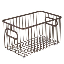 Load image into Gallery viewer, Cheap mdesign metal farmhouse kitchen pantry food storage organizer basket bin wire grid design for cabinets cupboards shelves countertops closets bedroom bathroom 10 long 4 pack bronze
