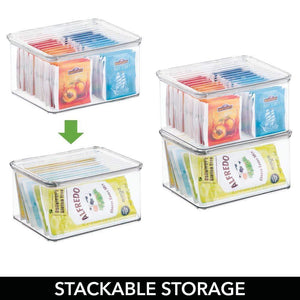 Budget friendly mdesign stackable kitchen pantry cabinet or refrigerator storage bin with attached hinged lid compact food storage organizer for coffee tea and food packets snacks bpa free pack of 3 clear