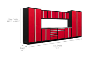 The best newage products 52354 pro 3 0 cabinetry set with stainless steel worktop red