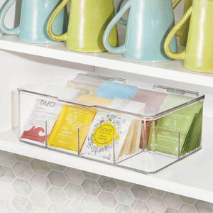 Latest mdesign stackable plastic tea bag holder storage bin box for kitchen cabinets countertops pantry organizer holds beverage bags cups pods packets condiment accessories clear