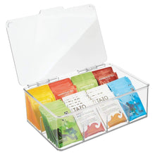 Load image into Gallery viewer, Great mdesign stackable plastic tea bag holder storage bin box for kitchen cabinets countertops pantry organizer holds beverage bags cups pods packets condiment accessories clear