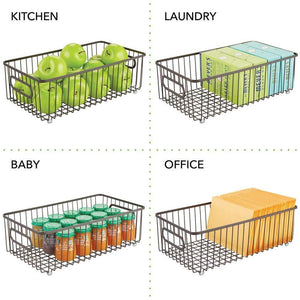 Budget friendly mdesign metal bathroom storage organizer basket bin farmhouse wire grid design for cabinets shelves closets vanity countertops bedrooms under sinks large 4 pack bronze