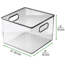 Load image into Gallery viewer, Organize with mdesign plastic food storage container bin with handles for kitchen pantry cabinet fridge freezer cube organizer for snacks produce vegetables pasta bpa free 8 pack clear