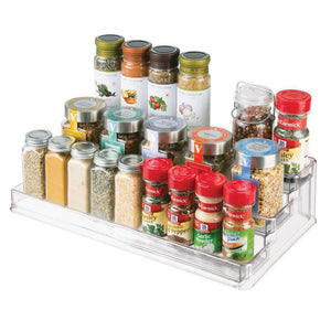 Exclusive mdesign large plastic adjustable expandable kitchen cabinet pantry shelf organizer spice rack with 3 tiered levels of storage for spice bottles jars seasonings baking supplies 2 pack clear