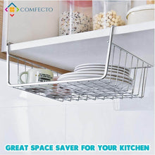 Load image into Gallery viewer, Shop here 4pcs 15 8 under shelf basket storage wire rack organizer for cabinet thickness max 1 2 inch extra storage space on kitchen counter pantry desk bookshelf cupboard anti rust stainless steel rack