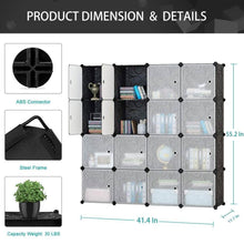 Load image into Gallery viewer, Shop here honey home modular plastic storage cube closet organizers portable diy wardrobes cabinet shelving with doors for bedroom office 16 cubes black white