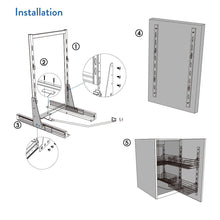 Load image into Gallery viewer, Budget vadania pull out cabinet organizer for 24 wide cabinet 2 tier wire basket linkage with door storage bottom mount slide system soft close 1