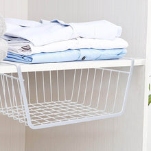 Load image into Gallery viewer, Buy now homeideas 4 pack under shelf basket white wire rack slides under shelves storage basket for kitchen pantry cabinet