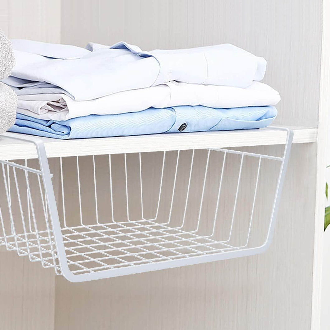 Buy now homeideas 4 pack under shelf basket white wire rack slides under shelves storage basket for kitchen pantry cabinet
