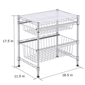 Explore rackaphile stackable 2 tier sliding basket organizer drawer under sink cabinet with adjustable leveling feet rack shelf for bathroom kitchen closet office desktop silver