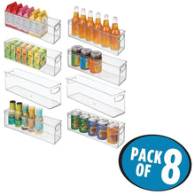 Load image into Gallery viewer, Purchase mdesign plastic stackable kitchen pantry cabinet refrigerator or freezer food storage bins with handles organizer for fruit yogurt snacks pasta bpa free 16 long 8 pack clear
