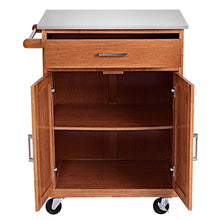 Load image into Gallery viewer, Best giantex wood kitchen trolley cart rolling kitchen island cart with stainless steel top storage cabinet drawer and towel rack