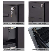Load image into Gallery viewer, Shop file cabinet mobile 2 drawer metal pedestal filing cabinets with lock key 5 rolling casters fully assembled home office modern vertical hanging folders a4 letter legal size