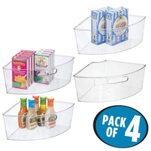 Load image into Gallery viewer, Top rated mdesign kitchen cabinet plastic lazy susan storage organizer bins with front handle large pie shaped 1 4 wedge 6 deep container food safe bpa free 4 pack clear