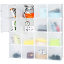 Load image into Gallery viewer, Heavy duty honey home modular storage cube closet organizers portable plastic diy wardrobes cabinet shelving with easy closed doors for bedroom office kitchen garage 16 cubes white