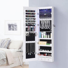 Load image into Gallery viewer, Products gissar full length mirror jewelry cabinet 6 leds jewelry armoire wall mounted over the door hanging jewelry organizer storage with lights lockable white