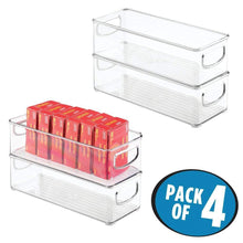 Load image into Gallery viewer, Products mdesign stackable plastic office storage organizer container with handles for cabinets drawers desks workspace bpa free for pens pencils highlighters tape 10 long 4 pack clear