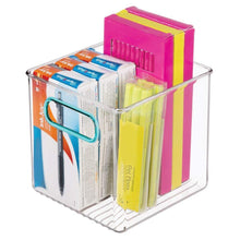Load image into Gallery viewer, Buy mdesign plastic home office storage organizer container with handles for cabinets drawers desks workspace bpa free for pens pencils highlighters notebooks 6 cube 4 pack clear blue