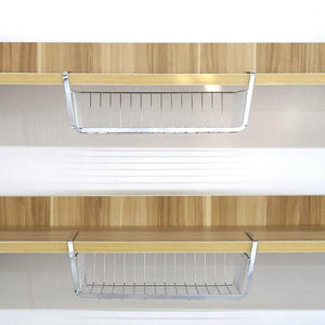 Shop monpearl 3 pack 16 4 under shelf basket under cabinet wire shelves for cabinet thickness max 1 45 hanging shelf basket on kitchen pantry desk bookshelf silver large size
