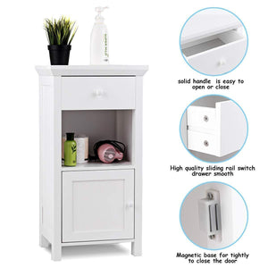 Exclusive tangkula bathroom floor storage cabinet wooden storage cabinet for home office living room bathroom one drawer cupboard organize freestanding cabinet white