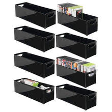 Load image into Gallery viewer, Amazon mdesign plastic stackable household storage organizer container bin with handles for media consoles closets cabinets holds dvds video games gaming accessories head sets 8 pack black