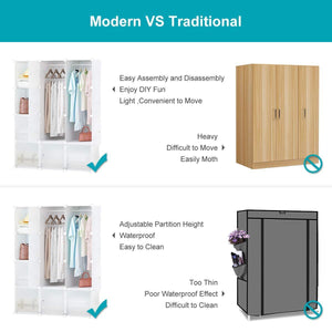 Featured honey home modular storage cube closet organizers portable plastic diy wardrobes cabinet shelving with easy closed doors for bedroom office kitchen garage 12 cubes white