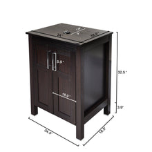 Load image into Gallery viewer, Online shopping 24 inches traditional bathroom vanity set in dark coffee finish single bathroom vanity with top and 2 door cabinet brown glass sink top with single faucet hole