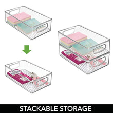 Load image into Gallery viewer, Select nice mdesign stackable plastic home office storage organizer container with handles for cabinets drawers desks workspace bpa free for pens pencils highlighters notebooks 6 wide 8 pack clear