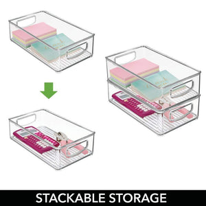 Select nice mdesign stackable plastic home office storage organizer container with handles for cabinets drawers desks workspace bpa free for pens pencils highlighters notebooks 6 wide 8 pack clear