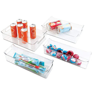 Save mdesign plastic kitchen pantry cabinet refrigerator or freezer food storage bins with handles organizers for fruit yogurt drinks snacks pasta condiments set of 4 clear
