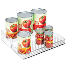 Load image into Gallery viewer, Discover the mdesign plastic kitchen canned food storage organizer shelves holder for cabinet countertop pantry holds beans sauces tomato paste vegetables soups 2 levels 12 w 2 pack clear