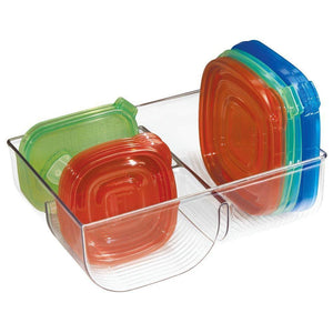 On amazon mdesign food storage container lid holder 3 compartment plastic organizer bin for organization in kitchen cabinets cupboards pantry shelves clear