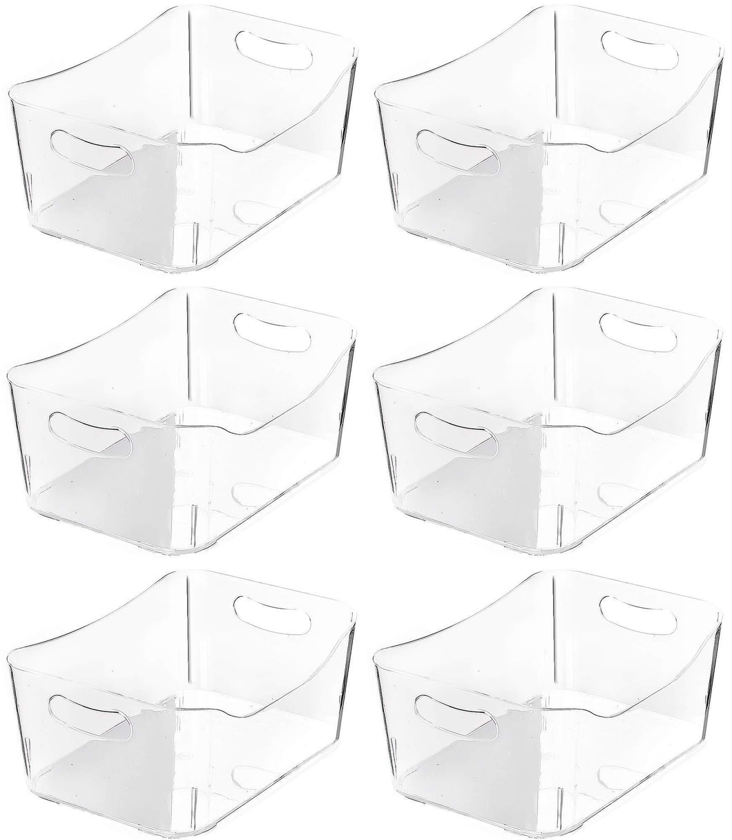 Top rated ybm home open bin storage basket kitchen pantry bathroom vanity laundry health and beauty product supply organizer under cabinet caddy medium 6 pack clear