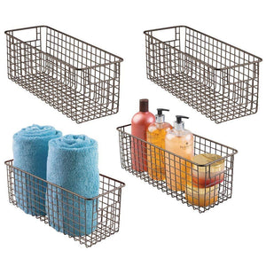Kitchen mdesign bathroom metal wire storage organizer bin basket holder with handles for cabinets shelves closets countertops bedrooms kitchens garage laundry 16 x 6 x 6 4 pack bronze